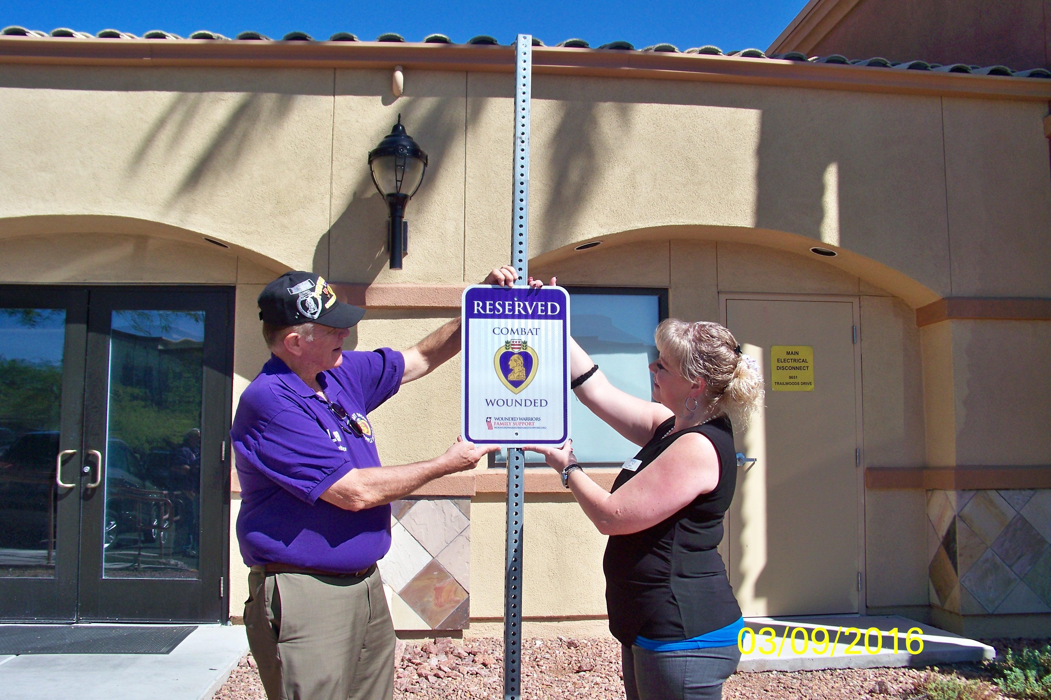 Purple Heart Sign Installed at Summerlin I-HOP