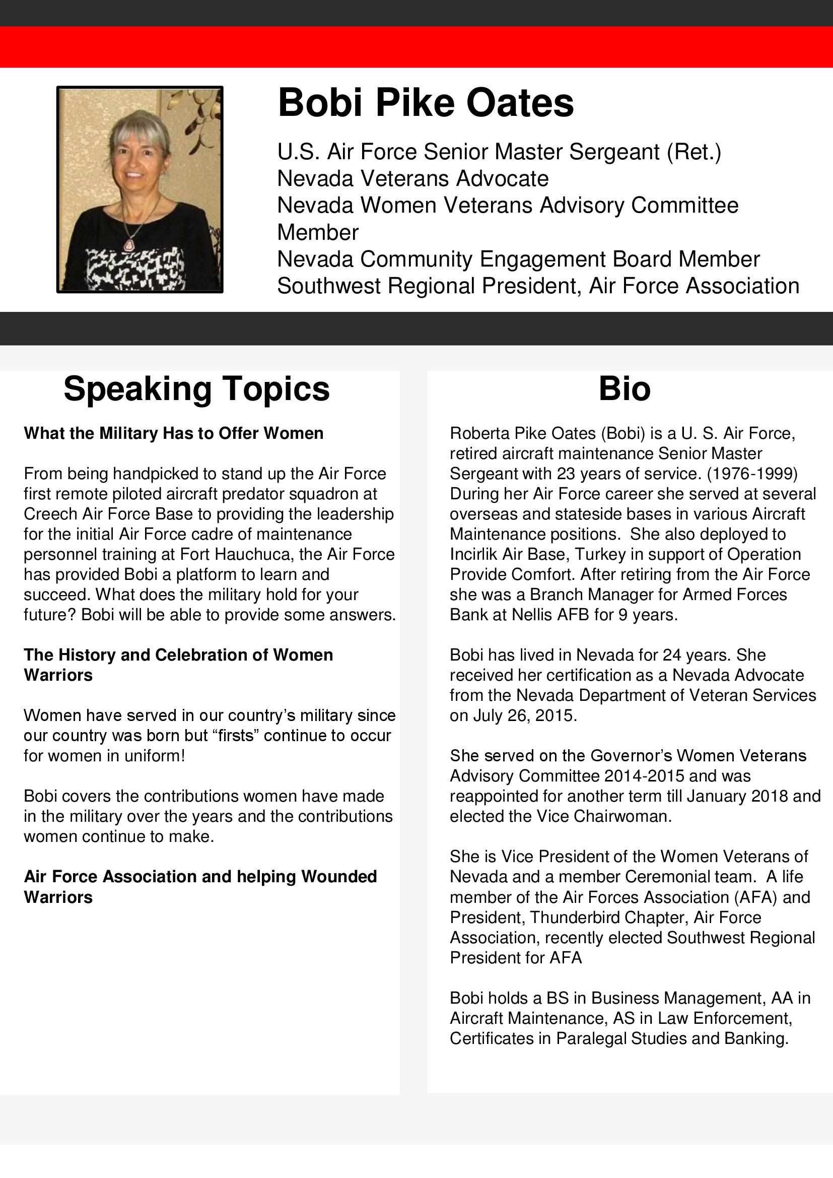 Speakers Bureau - Nevada Department of Veterans Services