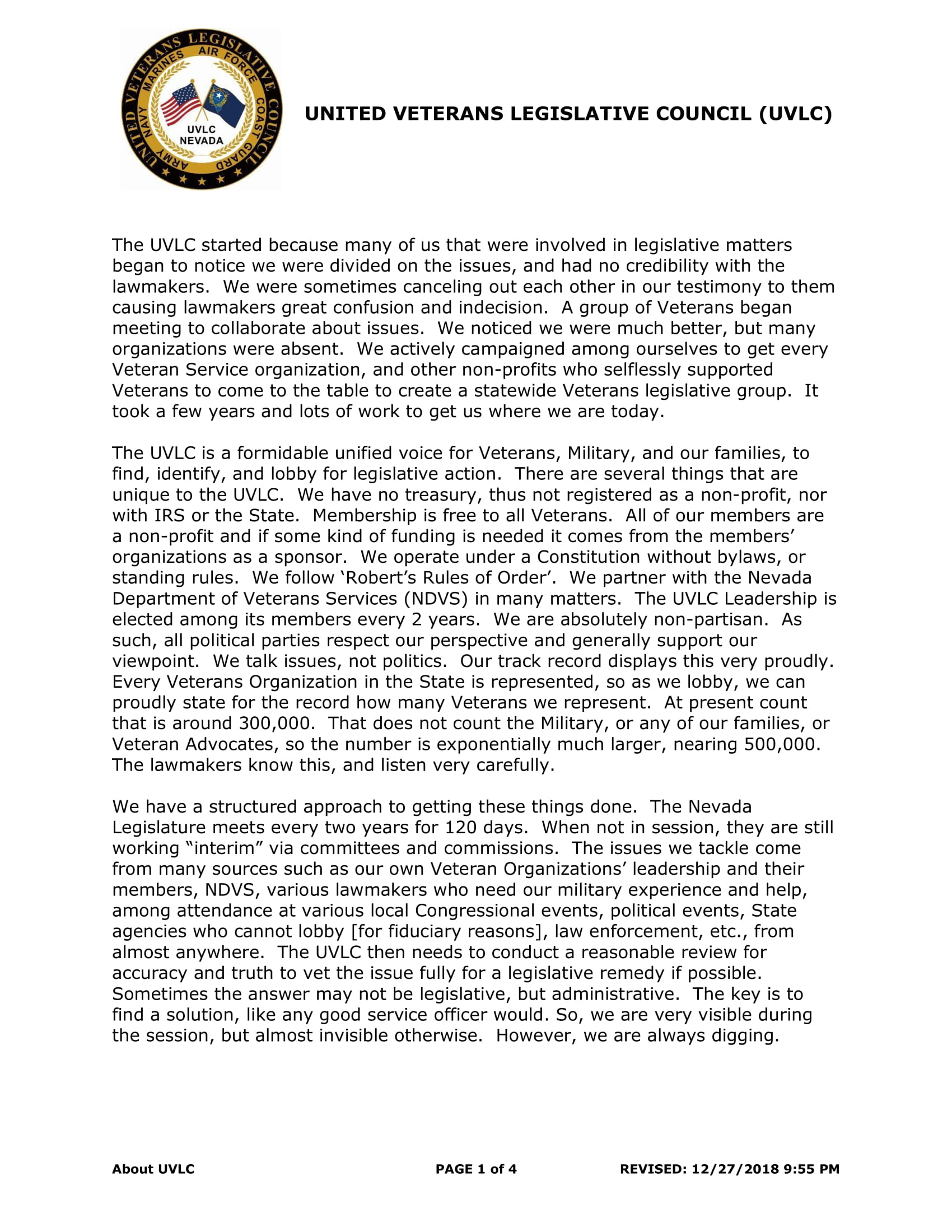 About The United Veterans Legislative Council Nevada Department Of Veterans Services