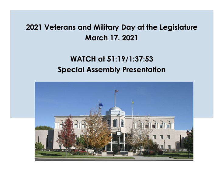 <p>March 17th, Assembly Presentation for 2021 Veterans and Military Day at the Legislature </p>