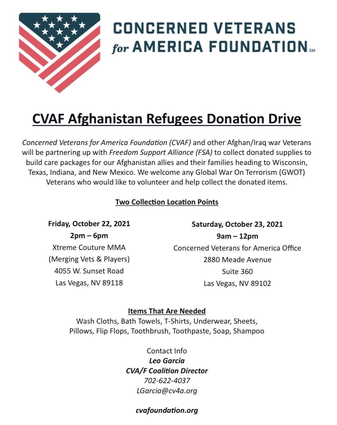 CVAF Afghanistan Refugees Donation Drive